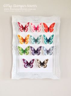 Stampin Up Watercolor Wings stamp set - beautiful framed butterflies by Rachael Lewsley. Colour combinations listed
