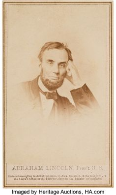 Photography:CDVs, Abraham Lincoln: Pensive Pose Carte-de-Visite....