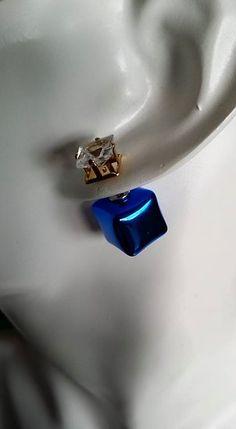 Boucles d'oreilles Tendances Carré Bleu Nuit