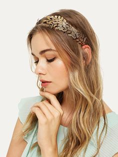 To find out about the Metal Leaf Headband at SHEIN, part of our latest Hair Accessories ready to shop online today! Wide Headband, Knot Headband, Headbands, Bags Online Shopping, Nail Accessories, Wedding Accessories, Women Accessories, Crown, Gold Style