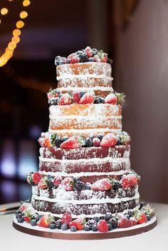 Beautiful naked wedding cake with fresh berries... what a perfect idea for a rustic wedding!  Photography by Lumaluna Photography   Kansas City Wedding Cakes  #munaluchibride #kcweddings #theknot