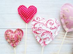 Heart stick set of 3 decor Valentine's Day soft from poppyshome by DaWanda.com