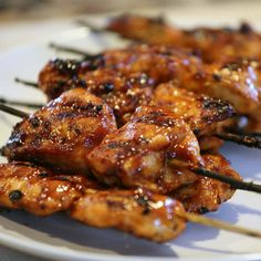 Grilled Sticky Chicken Skewers - whenever I make these people beg for the recipe Grilled Chicken Skewers, Grilled Chicken Recipes, Grilled Meat, Chicken Skewers In Oven, Chicken Kabob Marinade, Teriyaki Chicken Skewers, Meat Skewers, Chicken Appetizers, Grilling Recipes