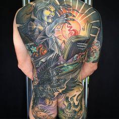 Sorcerer by @evandowdell at Time Will Tell Tattoo in Burlington, Ontario. #sorcerer #crow #skull #evandowdell #timewilltelltattoo #burlington #ontario #canada #tattoo #tattoos #tattoosnob...
