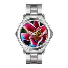KSD Custom Gift Watch Womens Fashion Japanese Quartz Date Stainless Steel Bracelet Wrist Watch Blue petals on a Star Gazer Lily Watches ** To view further for this item, visit the image link.