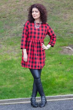 113265880248b Polished whimsy in buffalo check dress and leather leggings Check Dress,  Buffalo Check, Leather