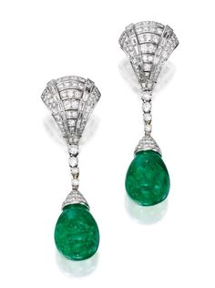 Pair of Platinum, Emerald and Diamond Pendant-Earrings