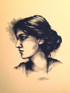 My portrait of Virginia Woolf as a young girl. Micron pen.