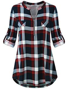 online shopping for Finice Finice Women's Zip V Neck Short Sleeve/Sleeveless Casual Blouse Tunic Shirt from top store. See new offer for Finice Finice Women's Zip V Neck Short Sleeve/Sleeveless Casual Blouse Tunic Shirt Loft Outfits, Casual Outfits, Casual Wear, Plaid Shirt Women, Plaid Shirts, Tee Shirts, Tunic Shirt, Plaid Tunic, Work Blouse