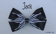 Up for your consideration is a custom made Jack hair bow. The bow measures 5 inches wide and 3 inches tall. I will attach whichever clip you