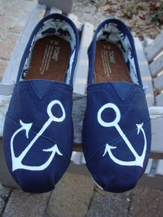 ancors painted on TOMS shoes by ArtfulSoles on Etsy, $85.00