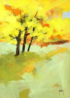 Semi-abstract landscape original painting - Autumn trio