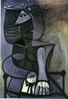 Seated woman with flat hat 1945 Pablo Picasso
