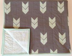 Mint gray modern baby quilt  chevron arrows by WilderAndBean