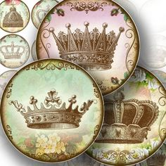1.5 inch circle digital art downloads bottle cap art vintage paper images jewelry making paper supplies Royal crowns