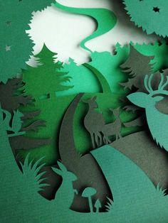 3D paper diorama shadow box Oh Deer van AtelierPerTwee op Etsy