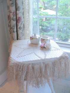 Crochet Ruffled Table Cloth Round Table Topper by mailordervintage