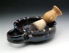 Bronze & Electric Blue Shaving Bowl with by NicolePangasCeramics