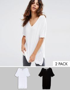 c940b1a49f Image 1 of ASOS V Neck Oversized Slouchy Rib 2 Pack Save 15% Underwear