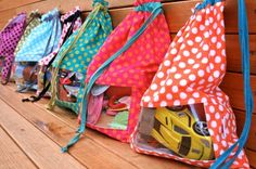 Tutorial for Peekaboo Toy Sacks to store kids toys--and still know what's inside.