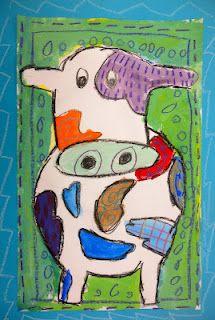 Patterned Cows: art lesson looking at painter Peter Diem . Special Needs Art, Animal Art Projects, Art Cart, 3rd Grade Art, Cow Painting, Cow Art, Teaching Art, Teaching Ideas, Shape Art