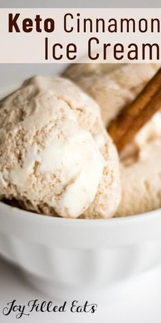 This cinnamon roll ice cream is sweet, creamy, with the spice of cinnamon and a ribbon of fluffy cream cheese icing running through it. This easy recipe is low carb, keto, gluten-free, grain-free, sugar-free, and Trim Healthy Mama friendly.