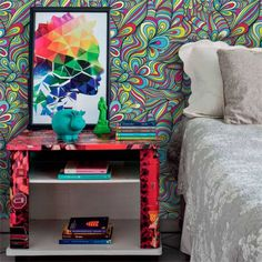 Papel de parede abstrato linhas coloridas 010