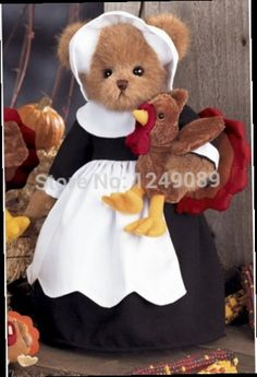 52.50$ Buy here - http://alivdx.worldwells.pw/go.php?t=32220781651 - Free shipping 14 inch Bearington teddy bear with turkey for Halloween soft plush bear toys creative gift