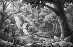 Japanese pagoda in woodland