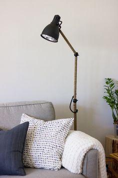 West-Elm Inspired Industrial task floor lamp IKEA hack