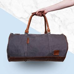 e910ac3e2af311 Gym Duffle Bag * HANDMADE * Grey Canvas & Brown Leather Weekend Bag -* Personalised* by MAHI Leather