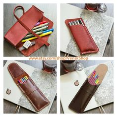 "Simple leather pencil case ""doodling liner box"" 3-6 Liner, pens, pencils…"
