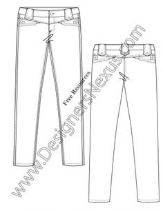 V69 Flat Fashion Sketch Skinny Jeans Pants Sketch