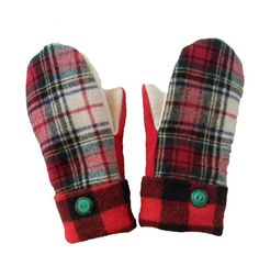 Red Plaid Mittens for Women Made in Wisconsin by SweatyMitts http://greatlakesmade.com