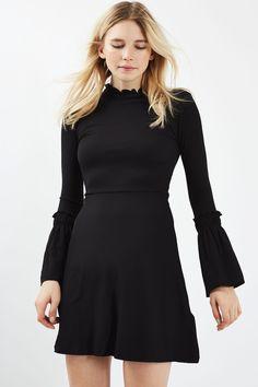Black Flute Sleeve Skater Dress - Topshop