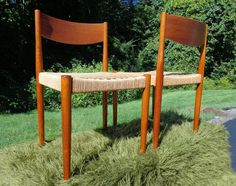 POUL VOLTHER FOR FREM ROJLE DENMARK, TEAK & WOVEN CORD SEAT SIDE CHAIRS (SOLD)