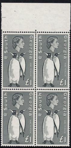 marginal block of 4 MUH. Gum disturbance on one unit King Penguin, 1 Kings, Penguins, Georgia, Stamps, Kids Rugs, Seals, Kid Friendly Rugs, Penguin