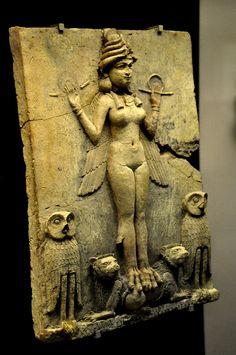 The figure could be an aspect of the goddess Ishtar, Mesopotamian goddess of sexual love and war, or Ishtar's sister and rival, the goddess Ereshkigal who ruled over the Underworld, or the demoness Lilitu, known in the Bible as Lilith. The plaque probably stood in a shrine.   Old Babylonian era, 1800-1750 BCE, from southern Iraq (place of excavation is unknown), Mesopotamia, Iraq. (The British Museum, London)