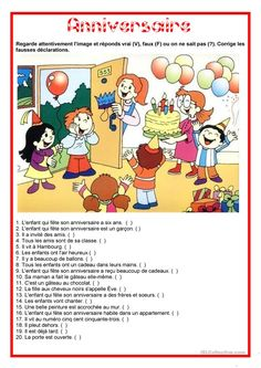 Description image - Anniversaire French Worksheets, English Worksheets For Kids, French Language Lessons, English Lessons, English Vocabulary Words, Learn English Words, Learn German, Learn French, Picture Story For Kids