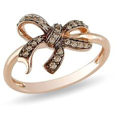 Amazon Curated Collection 10k Rose Gold Brown Diamond Bow Ring ( .14... ($176) ❤ liked on Polyvore