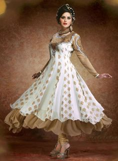 Buy Bollywood Off White Anarkali With Chudidar In Georgette $76.40 . Shop at - bollywood-ankle-length-anarkali.blogspot.co.uk/2014/08/buy-bollywood-off-white-anarkali-with.html