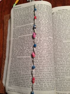 Here's my beaded page of the Bible, on Leviticus 26. It needed a little bling to cheer it up. Beads made with recycled magazines and Bible pages. #wordmadeart