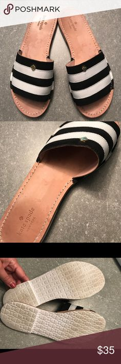 Kate Spade ♠️ Slides - Size 8 Kate Spade ♠️ Striped Slide Sandals - Size 8 - worn a handful of times, small amount of natural wear on bottom (shown in pic) - otherwise excellent condition - leather sole kate spade Shoes Sandals