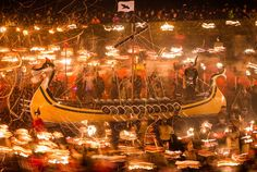 Hundreds of local residents took to the streets, brandishing thousands of flaming torches, in an homage to Shetland's Viking heritage