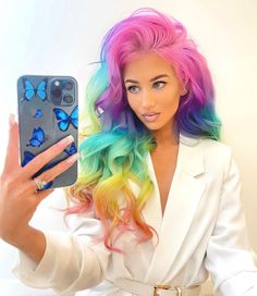 🌈🌈🌈 @amythemermaidx in Virgin Pink, Aquamarine, Violet Dream and Cosmic Sunshine Semi Permanent Hair Dye, Arctic Fox Hair Color, How To Lighten Hair, Color Me Beautiful, Light Brown Hair, Rainbow Hair, Free Hair, Nike Outfits, Pastel Pink