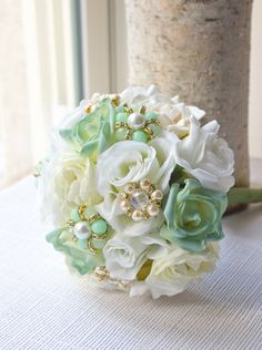 Hey, I found this really awesome Etsy listing at https://www.etsy.com/listing/179426208/mint-bridesmaid-and-bridal-bouquet