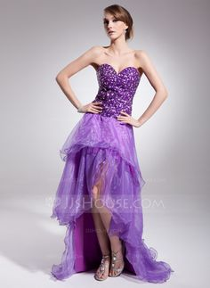 A-Line/Princess Sweetheart Asymmetrical Organza Charmeuse Prom Dress With Beading (018014511)