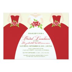 Bride & Bridesmaids Bridal Luncheon Invite (red)