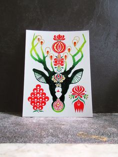 Northern Forest Stag  Deer Head Postcard  by TigerlilyDesignStore
