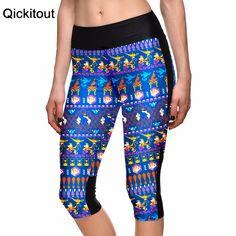 Women's 7 point pants women leggings Dark blue cartoon monkey mention pot digital print women high waist Side pocket phone pants  Only $19.99 => Save up to 60% and Free Shipping => Order Now!  #print leggings outfit #dress #Fashion #girl #Digital #sport #yoga